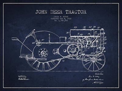 Farming Digital Art - John Deer Tractor Patent Drawing From 1930 - Navy Blue by Aged Pixel