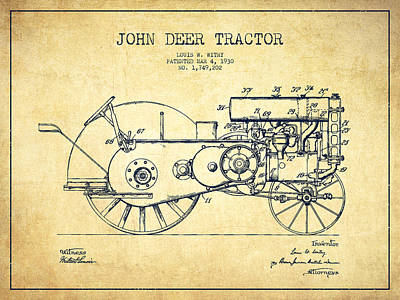 Farm Equipment Drawing - John Deer Tractor Patent Drawing From 1930 - Vintage by Aged Pixel