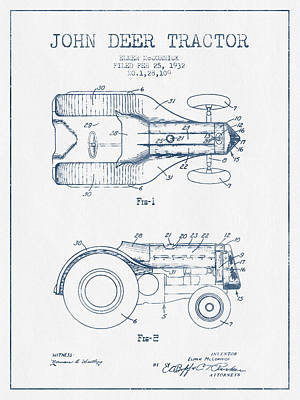John Deer Tractor Patent Drawing From 1932- Blue Ink Art Print