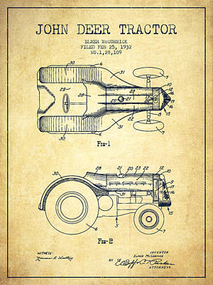 Farming Digital Art - John Deer Tractor Patent Drawing From 1932 - Vintage by Aged Pixel