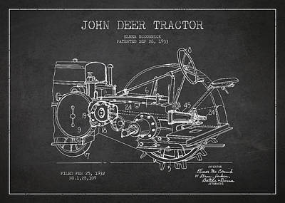 John Deer Tractor Patent Drawing From 1933 Art Print