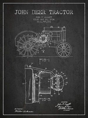 Farming Digital Art - John Deer Tractor Patent Drawing From 1934 - Dark by Aged Pixel