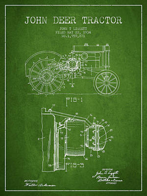 Farming Digital Art - John Deer Tractor Patent Drawing From 1934 - Green by Aged Pixel