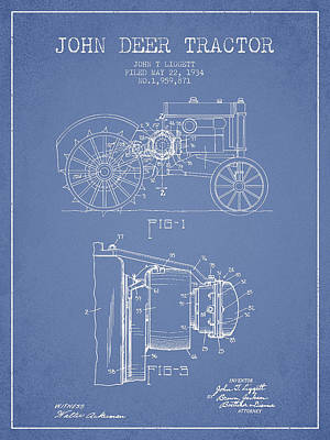 John Deer Tractor Patent Drawing From 1934 - Light Blue Art Print