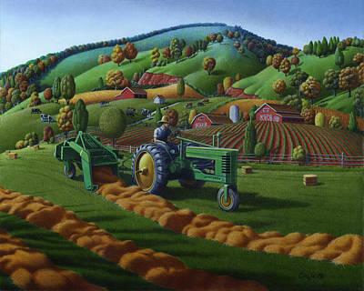 Rustic John Deere Farm Tractor Baling Hay - Rural Country Folk Art Landscape - Summer Americana Art Print by Walt Curlee