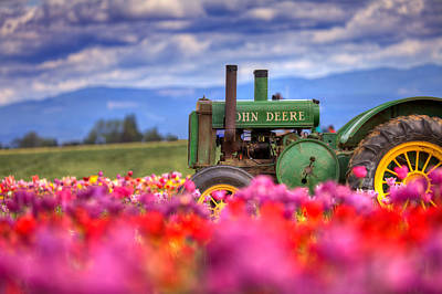 Photograph - John Deere In The Tulips by Joseph Bowman