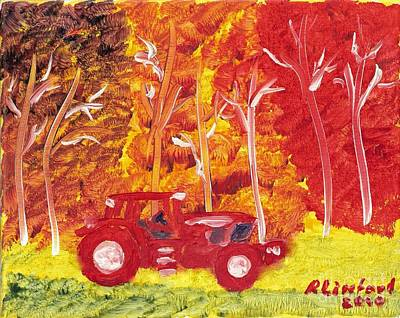 Painting - John Deere Red Tractor Where Is The Farmer by Richard W Linford