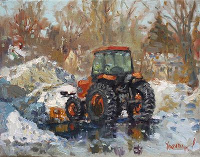 Snowed Trees Painting - John Deere Taking A Brake by Ylli Haruni
