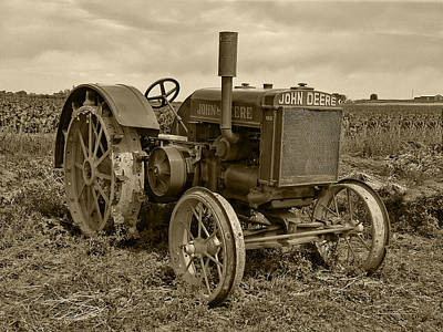 Photograph - John Deere Tractor 2 Sepia Tone by Ken Smith