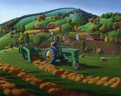 Appalachia Painting - John Deere Tractor Baling Hay Farm Folk Art Landscape - Vintage - Americana Decor -  Painting by Walt Curlee