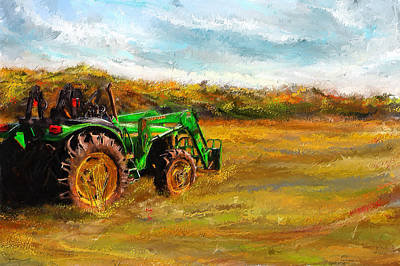 Harvest Art Painting - John Deere Tractor- John Deere Art by Lourry Legarde