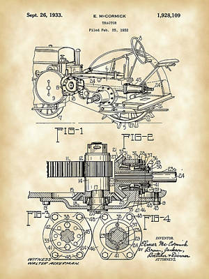 John Deere Tractor Patent 1932 - Vintage Art Print by Stephen Younts