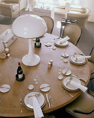 Tableware Photograph - John Dickinson's Dining Table by Fred Lyon