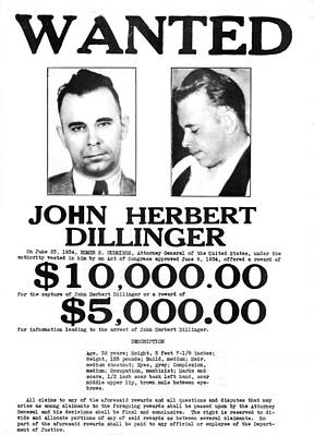 John Dillinger Wanted Poster, 1934 Art Print by Science Source