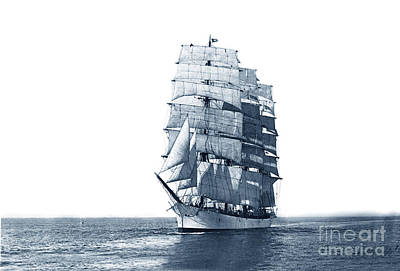 Photograph - John Ena 4 Masted Square Rigger Ship Bark Built In 1892 Circa 1900 by California Views Archives Mr Pat Hathaway Archives