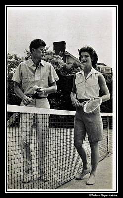Photograph - John F Kennedy And Jacqueline Bouvier Playing Tennis by Audreen Gieger