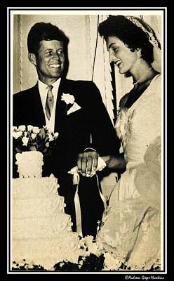 Photograph - John F Kennedy And Jacqueline Cut Wedding Cake by Audreen Gieger