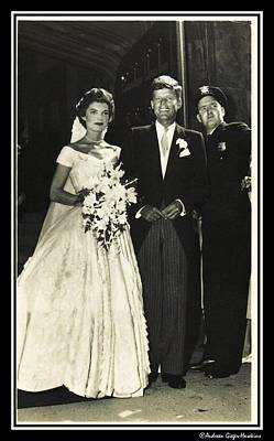 John F Kennedy And Jacqueline On Wedding Day Art Print