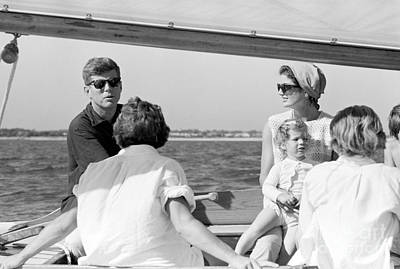 John F. Kennedy And Jacqueline Sailing Off Hyannis Port Art Print