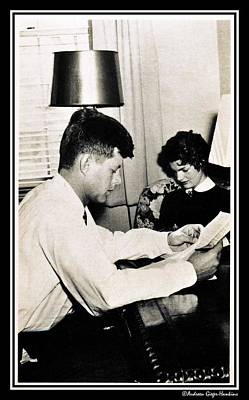 Photograph - John F Kennedy And Jacqueline Studying At Home  by Audreen Gieger