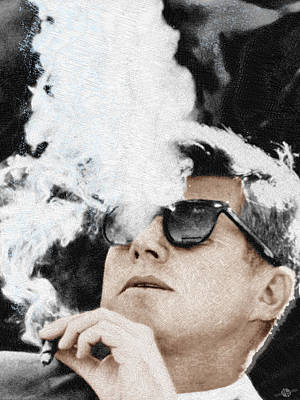 Landmarks Painting Royalty Free Images - John F Kennedy Cigar and Sunglasses Royalty-Free Image by Tony Rubino