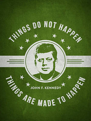 John F Kennedy - Green Print by Aged Pixel