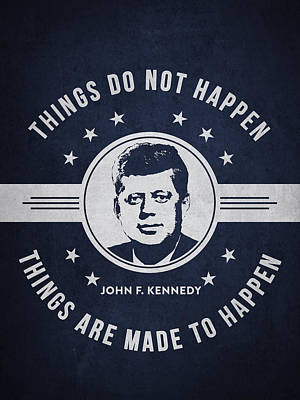 John F Kennedy - Navy Blue Print by Aged Pixel