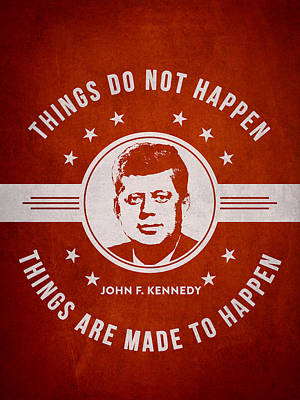 John F Kennedy - Red Print by Aged Pixel