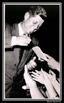 Photograph - John F Kennedy Signing Autographs by Audreen Gieger