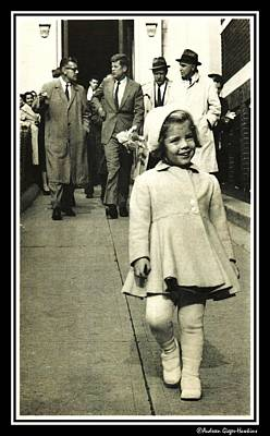 Photograph - John F Kennedy Walking With Caroline by Audreen Gieger