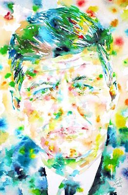 John F. Kennedy - Watercolor Portrait.1 Original by Fabrizio Cassetta