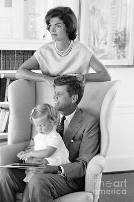 First Lady Photograph - John F. Kennedy With Jacqueline And Caroline 1959 by The Harrington Collection