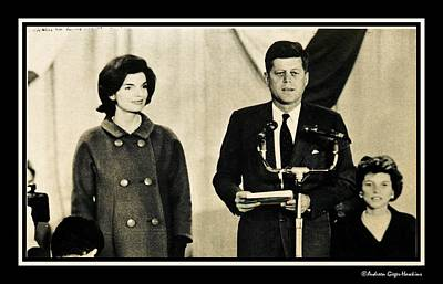 Photograph - John F Kennedy With Jacqueline Making Acceptance Speech by Audreen Gieger