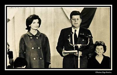 John F Kennedy With Jacqueline Making Acceptance Speech Art Print