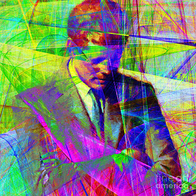 Portraits Digital Art - John Fitzgerald Kennedy Jfk In Abstract 20130610v2 Square by Wingsdomain Art and Photography