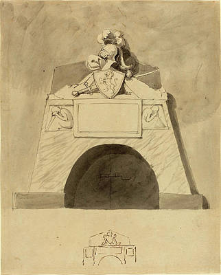Wash Drawing - John Flaxman British, 1755 - 1826, Design For A Monument by Quint Lox