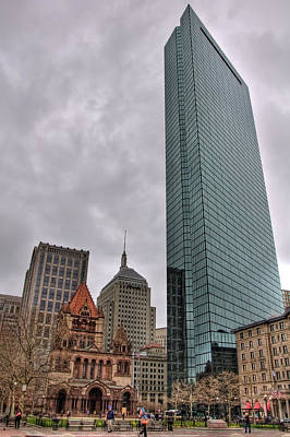 Spring Scenes Photograph - John Hancock And Trinity Church - Boston by Joann Vitali