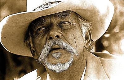 Nighttime Street Photography - John Kane mourner Sid Wilsons funeral Pick em Up ranch Tombstone Arizona 1981 by David Lee Guss