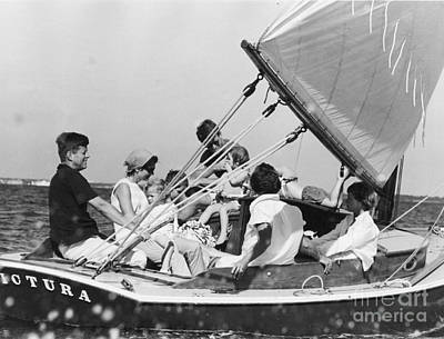 John Kennedy With Robert And Jacqueline Sailing Art Print