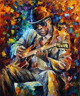 John Lee Hooker - Palette Knife Oil Painting On Canvas By Leonid Afremov Original