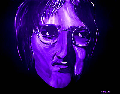 Silver Moonlight Painting - John Lennon 5 by Mark Moore
