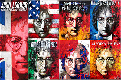 Painting - John Lennon - A Man Of Peace And The World. Second Poster by Vitaliy Shcherbak