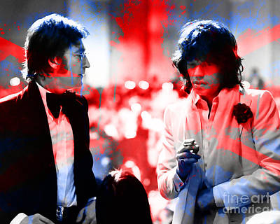 Jagger Mixed Media - John Lennon And Mick Jagger Painting by Marvin Blaine