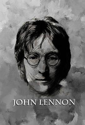 John Lennon Portrait Drawing - John Lennon Bw by Steve K