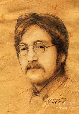 Fab Four Drawing - John Lennon by Jaroslaw Blaminsky