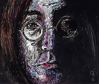 Studio Shot Drawing - John Lennon by Joyce Sherwin