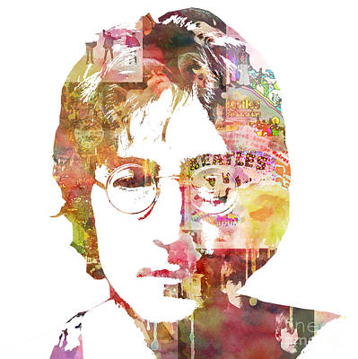 Abstract Portrait Painting - John Lennon by Mike Maher