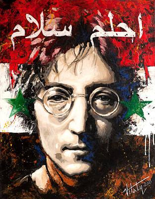 Painting - John Lennon. On The Syrian Flag by Vitaliy Shcherbak