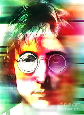Framed Digital Art Mixed Media - John Lennon Over John Lennon by Marvin Blaine