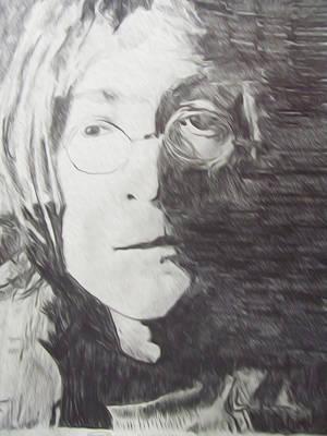 Sunset Abstract Drawing - John Lennon Pencil by Jimi Bush